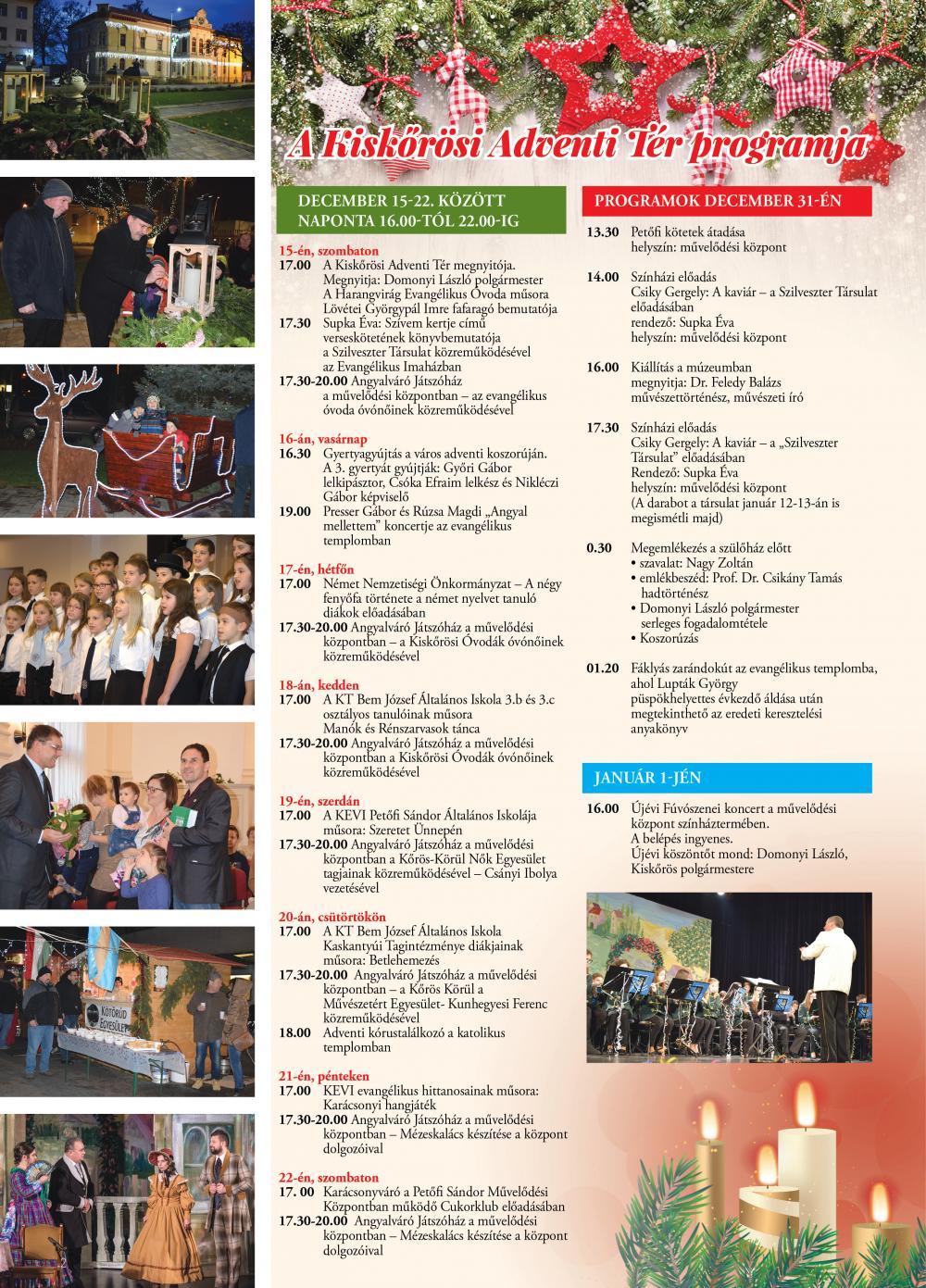 Kiskőrösi Adventi Tér programja