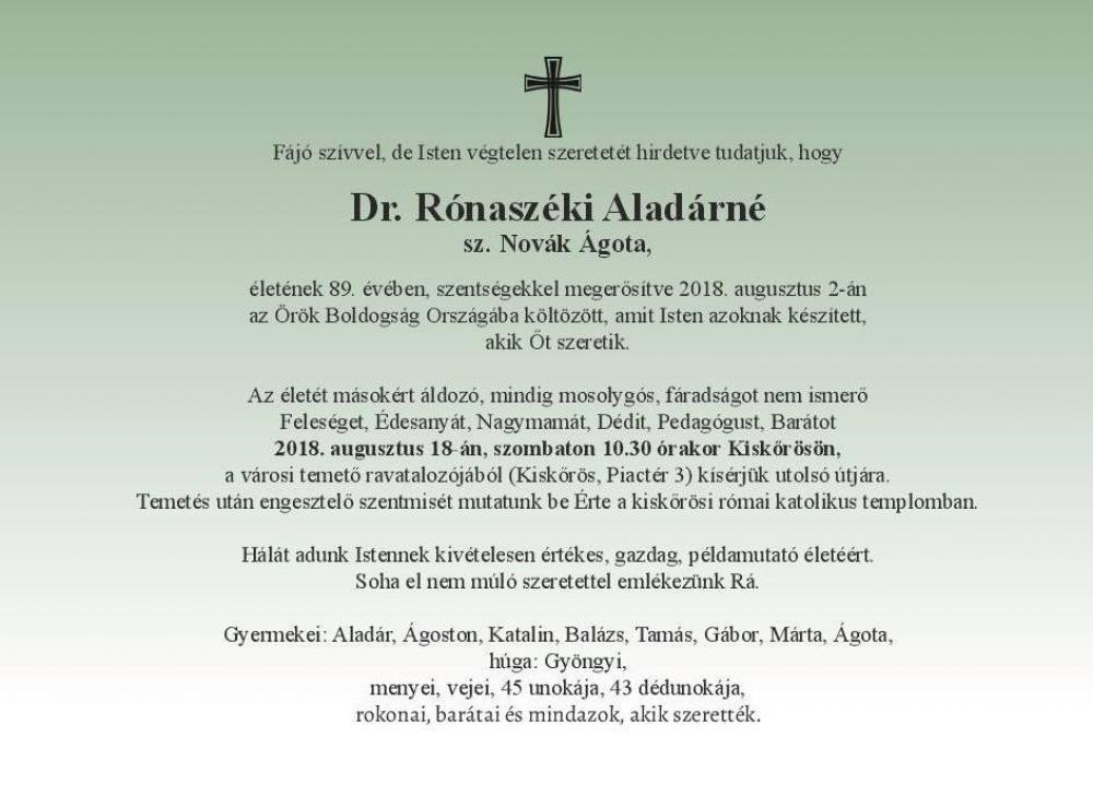 Gyászhír - Dr. Rónaszéki Aladárné