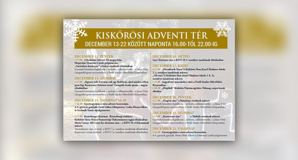 Kiskőrösi Adventi Tér programja - 2019