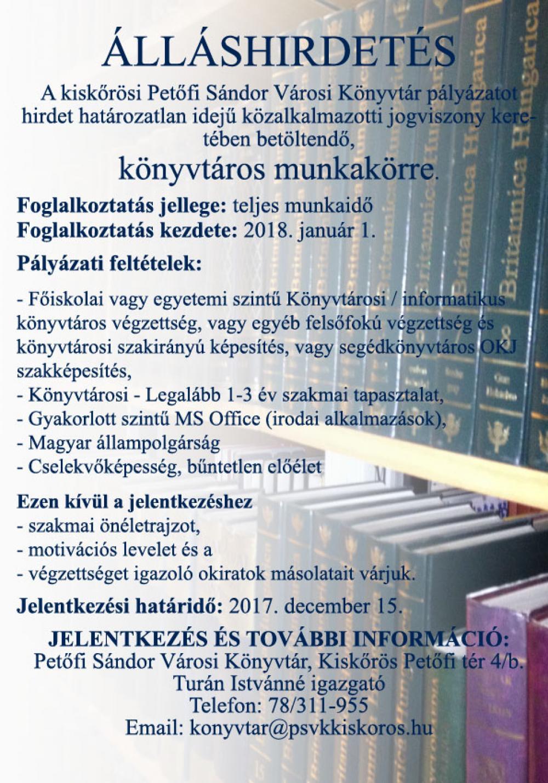 Álláslehetőség - könyvtáros