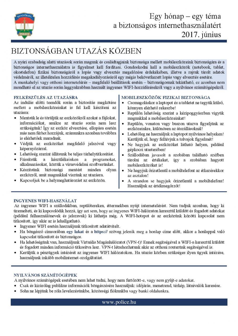 A biztonságos internethasználatért - a Bács-Kiskun Megyei Rendőr-főkapitányság Bűnügyi Igazgatóság Bűnmegelőzési Osztályának tájékoztatója