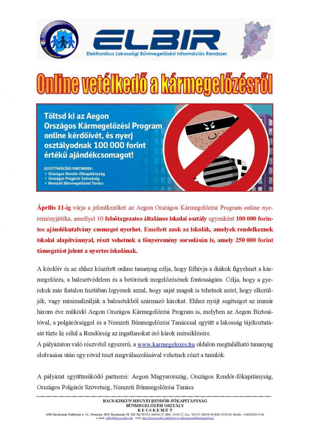 Online vetélkedő a kármegelőzésről