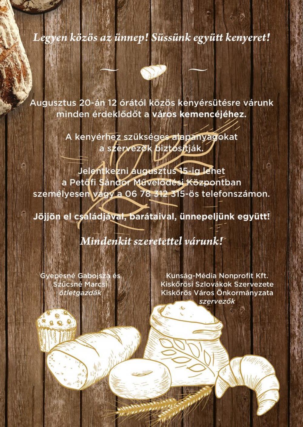 Legyen közös az ünnep! Süssünk együtt kenyeret!