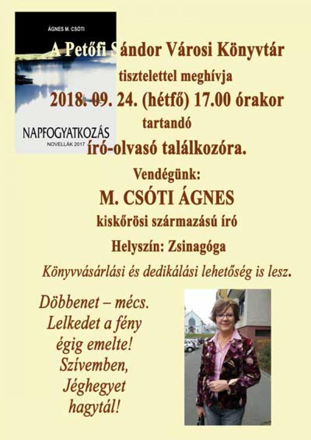 Író-olvasó találkozó - M. Csóti Ágnes