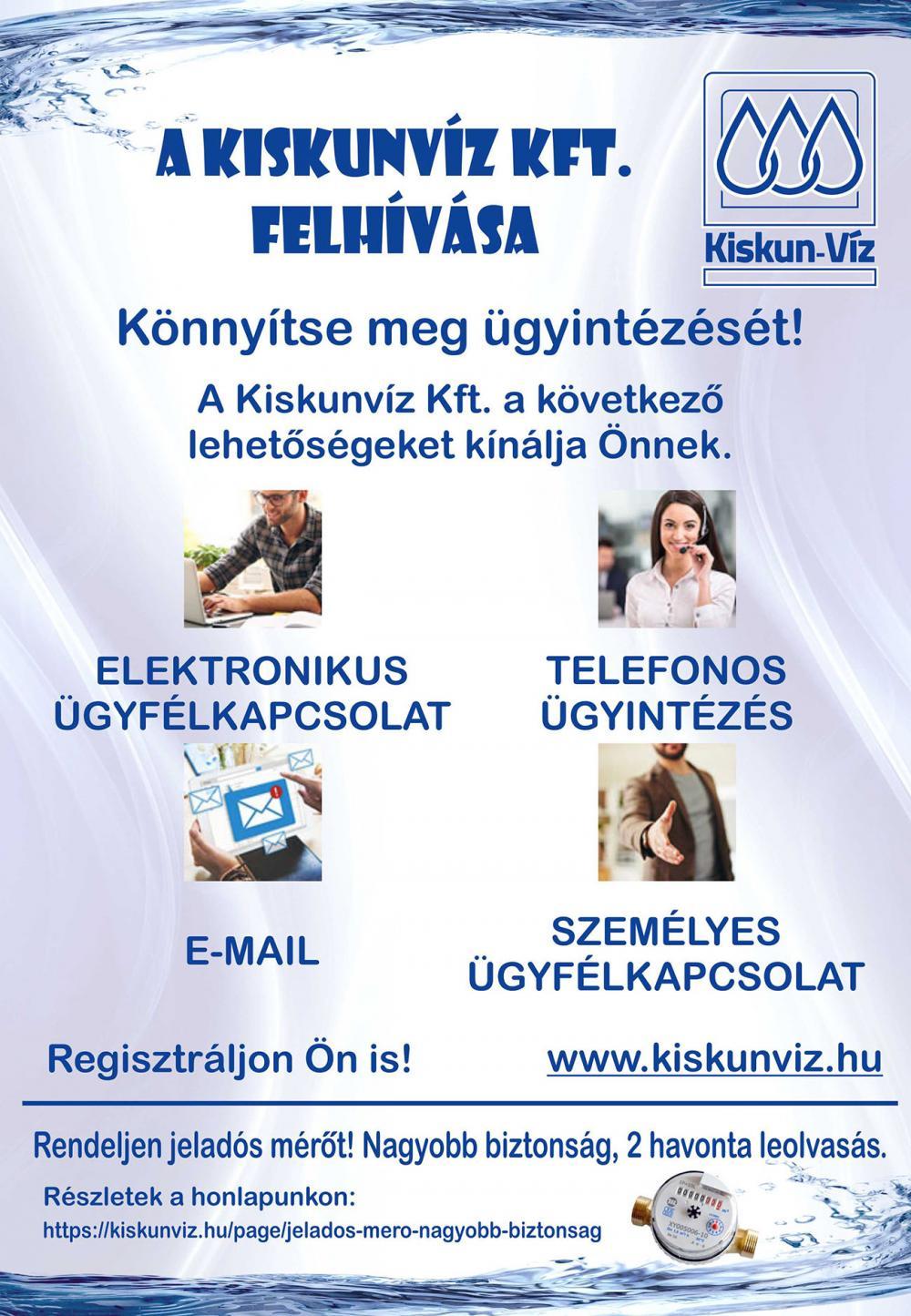 A Kiskunvíz Kft. felhívása