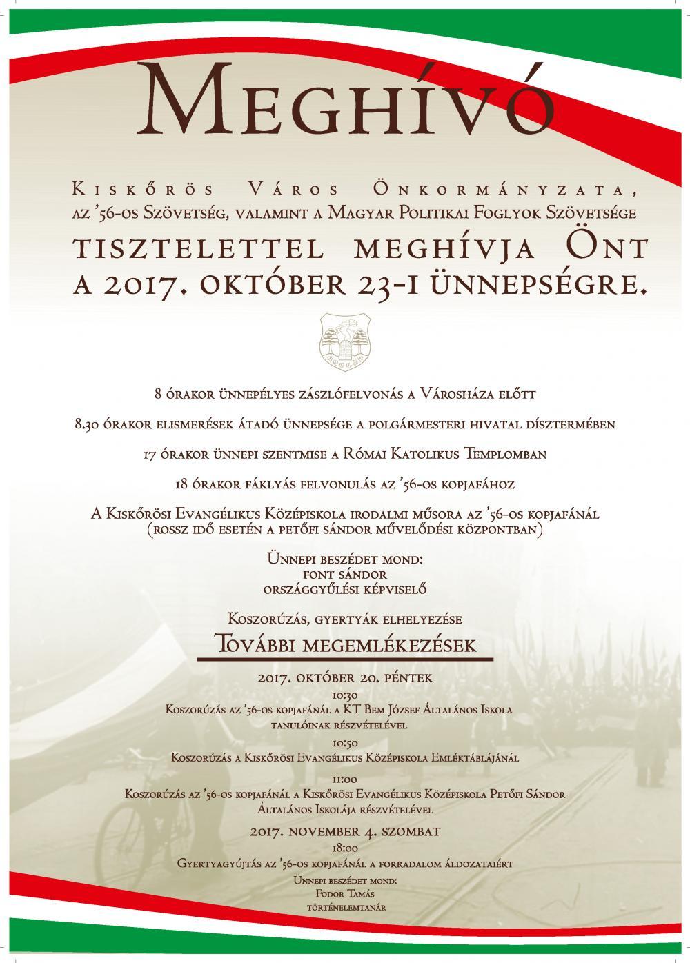 OKTÓBER 23-I ÜNNEPSÉG