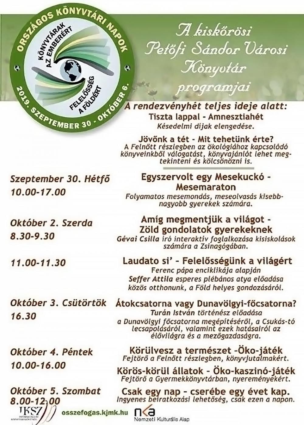 Országos Könyvtári Napok - A kiskőrösi Petőfi Sándor Városi Könyvtár programjai