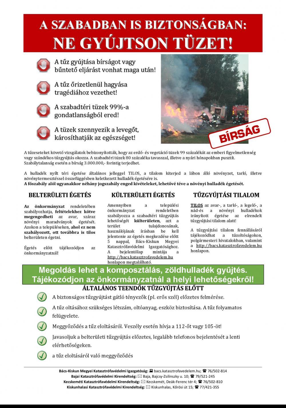 A szabadban is biztonságban: Ne gyújtson tüzet!