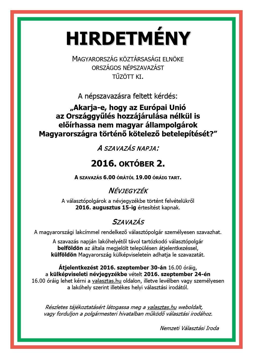 Országos Népszavazás 2016.