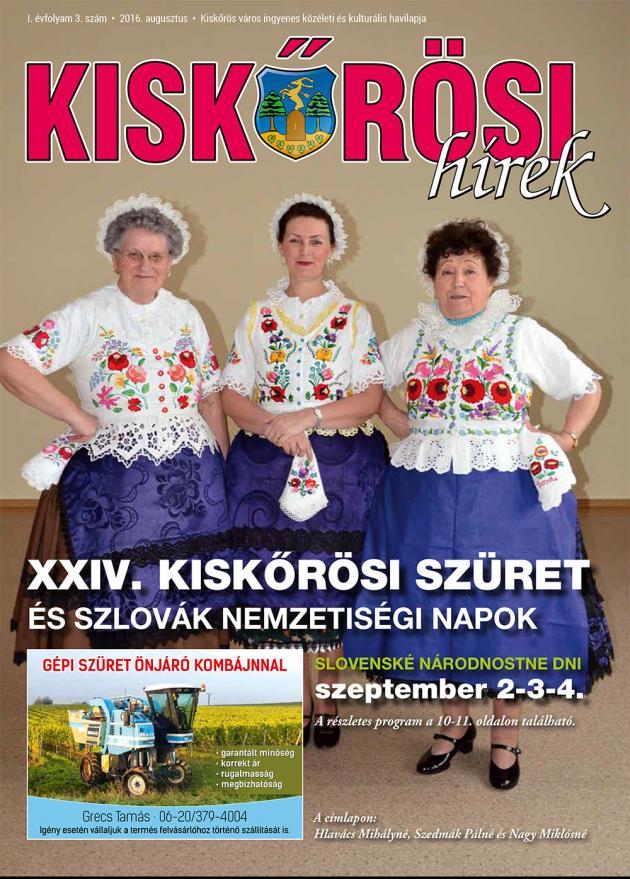 Kiskőrösi Hírek - augusztusi szám